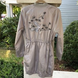 Express silver satin car coat with embroidery NWOT